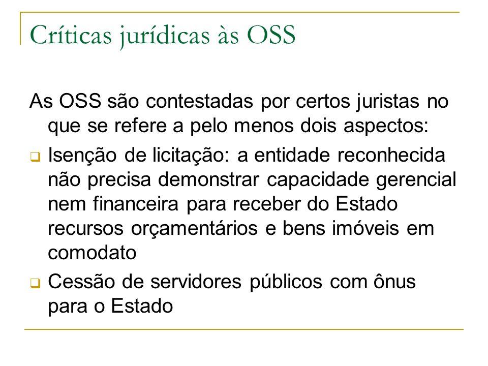 Críticas jurídicas às OSS As OSS são contestadas por certos juristas no que se refere a pelo menos dois aspectos: Isenção de licitação: a entidade rec