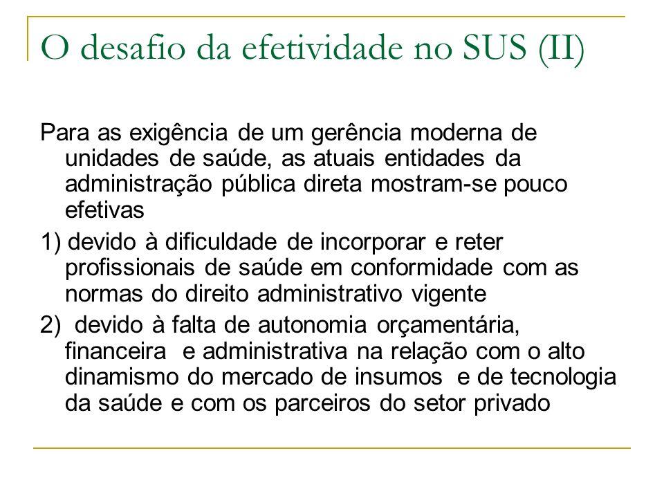 O desafio da efetividade no SUS (II) Para as exigência de um gerência moderna de unidades de saúde, as atuais entidades da administração pública diret