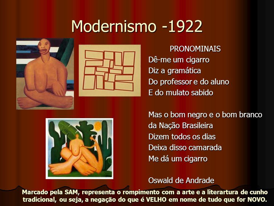 Modernismo -1922 PRONOMINAIS PRONOMINAIS Dê-me um cigarro Diz a gramática Do professor e do aluno E do mulato sabido Mas o bom negro e o bom branco da