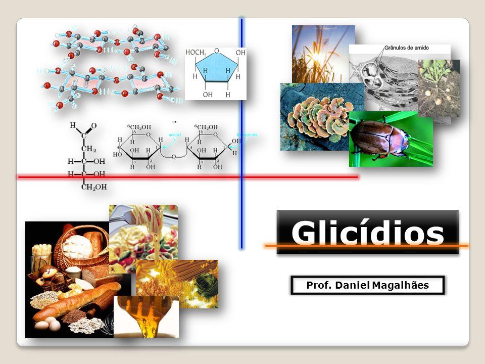 DEFINIÇÃO FUNÇÕES Os glicídios, também chamados de açúcares, carboidratos ou hidratos de carbono são moléculas orgânicas constituídas fundamentalmente por átomos de carbono, hidrogênio e oxigênio; Agem como uma fonte de energia para as células; Têm função plástica e estrutural, participando de estruturas que compõem os seres vivos; Participam da composição química dos ácidos nucléicos (DNA e RNA), que comandam e coordenam toda a vida celular; A molécula de glicose é composta por 6 átomos de carbono, 12 átomos de hidrogênio e 6 átomos de oxigênio (C 6 H 12 O 6 ).