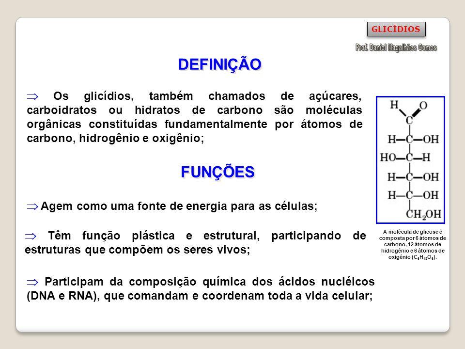 CLASSIFICAÇÃO DOS GLICÍDIOS Os glicídios podem ser classificados de acordo com a organização de sua molécula, em três grupos: Monossacarídeos: glicídios simples, moléculas pequenas; Dissacarídeos: glicídios formados pela reunião de dois monossacarídeos; Polissacarídeos: glicídios complexos, moléculas grandes.