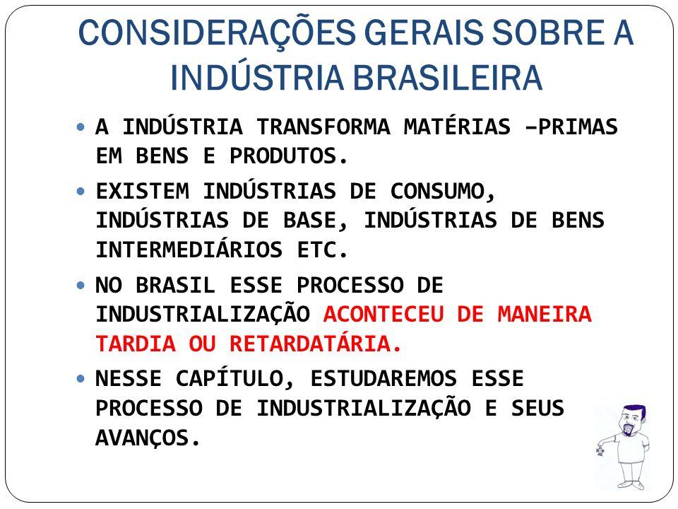 CONSIDERAÇÕES GERAIS SOBRE A INDÚSTRIA BRASILEIRA A INDÚSTRIA TRANSFORMA MATÉRIAS –PRIMAS EM BENS E PRODUTOS. EXISTEM INDÚSTRIAS DE CONSUMO, INDÚSTRIA