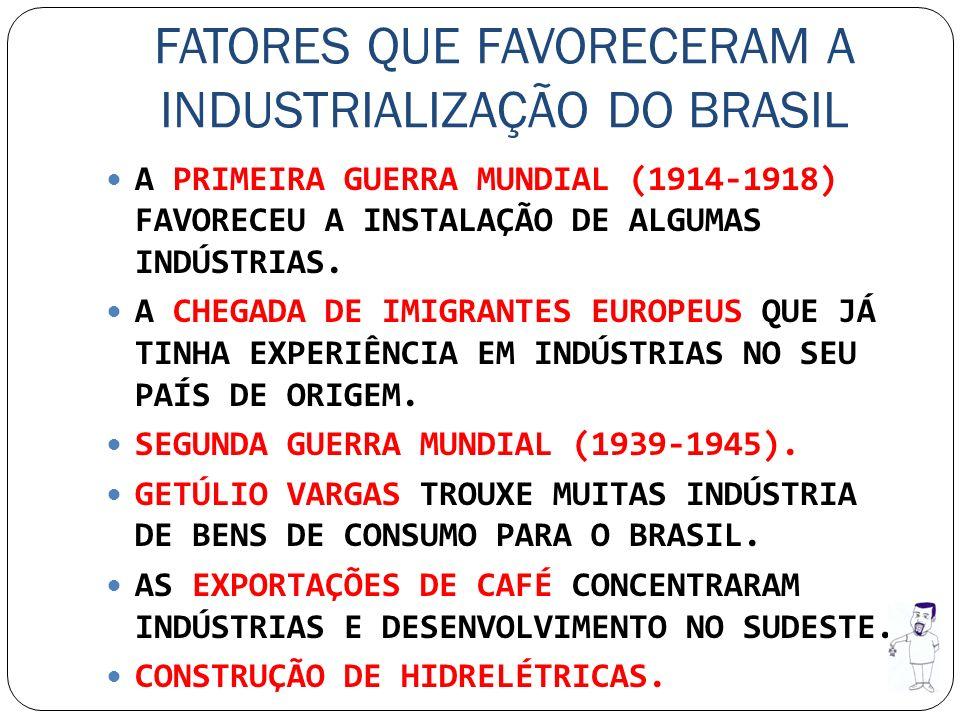 FATORES QUE FAVORECERAM A INDUSTRIALIZAÇÃO DO BRASIL A PRIMEIRA GUERRA MUNDIAL (1914-1918) FAVORECEU A INSTALAÇÃO DE ALGUMAS INDÚSTRIAS. A CHEGADA DE