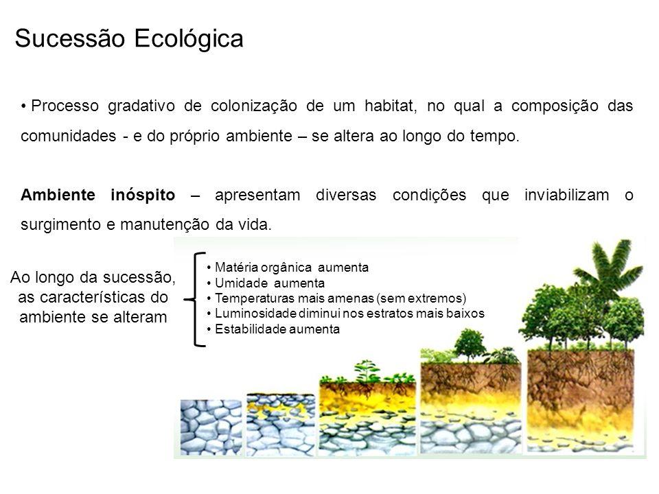 Sucessão Ecológica Processo gradativo de colonização de um habitat, no qual a composição das comunidades - e do próprio ambiente – se altera ao longo do tempo.