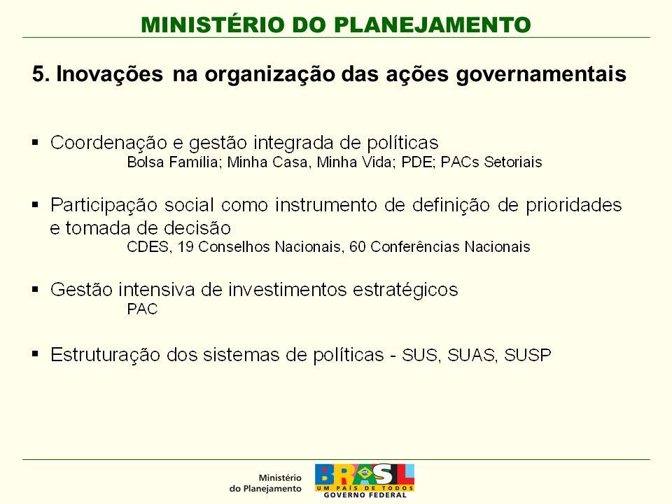 MINISTÉRIO DO PLANEJAMENTO 5. Inovações na organização das ações governamentais