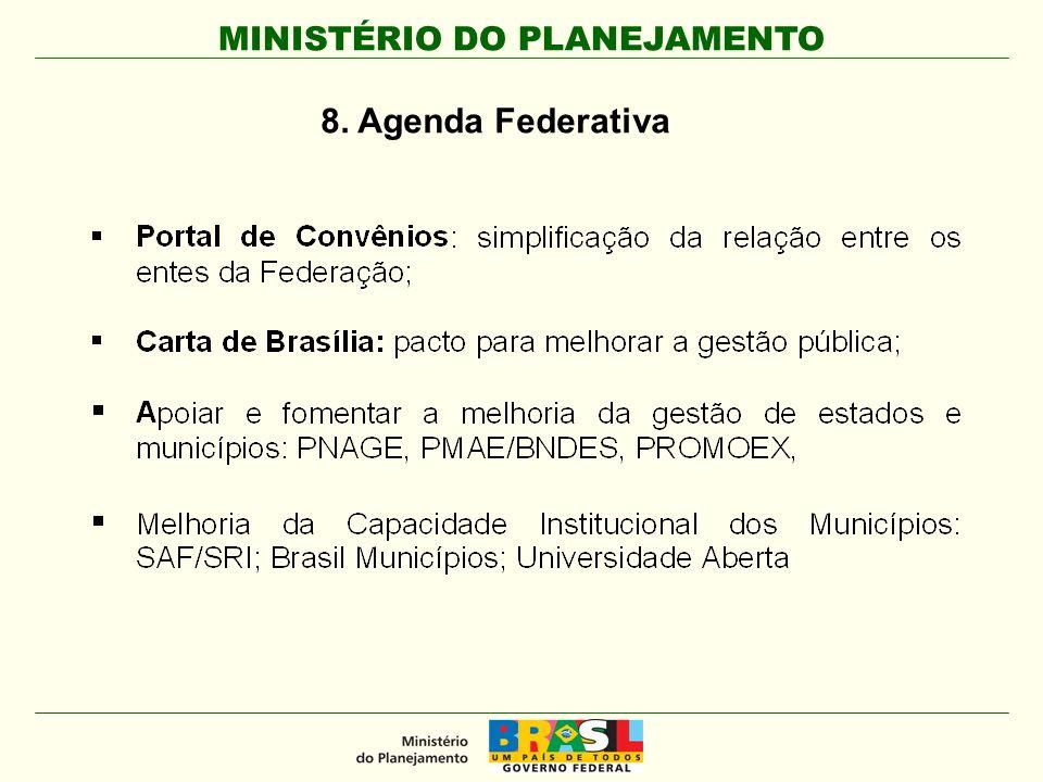 MINISTÉRIO DO PLANEJAMENTO 8. Agenda Federativa