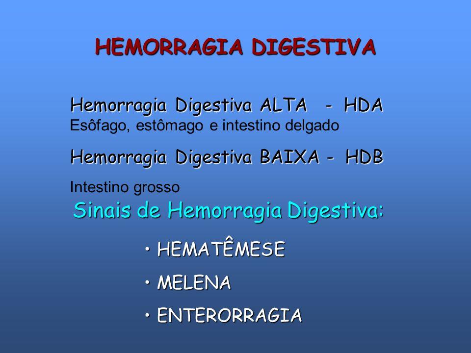 Hemorragia Digestiva ALTA - HDA Hemorragia Digestiva ALTA - HDA Esôfago, estômago e intestino delgado Hemorragia Digestiva BAIXA - HDB Intestino gross
