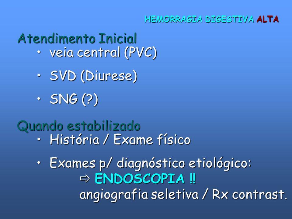 HEMORRAGIA DIGESTIVA ALTA Atendimento Inicial veia central (PVC) veia central (PVC) SVD (Diurese) SVD (Diurese) SNG (?) SNG (?) Quando estabilizado Hi