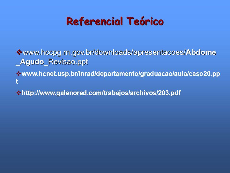 Referencial Teórico www.hccpg.rn.gov.br/downloads/apresentacoes/Abdome _Agudo_Revisao.ppt www.hccpg.rn.gov.br/downloads/apresentacoes/Abdome _Agudo_Re