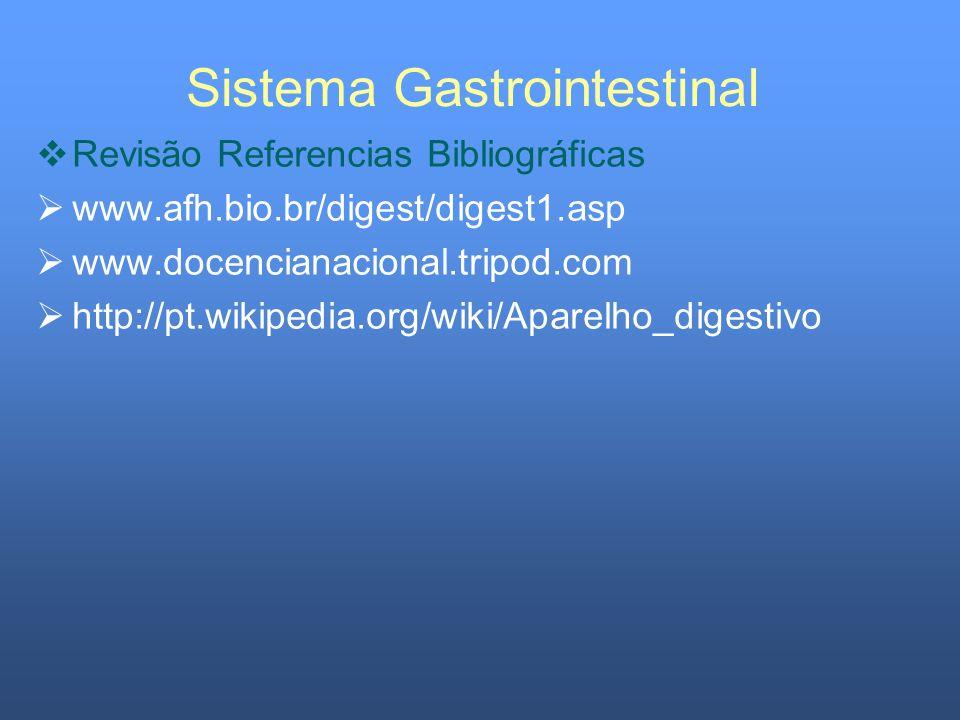 Sistema Gastrointestinal Revisão Referencias Bibliográficas www.afh.bio.br/digest/digest1.asp www.docencianacional.tripod.com http://pt.wikipedia.org/