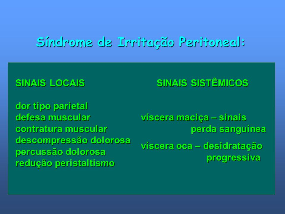 SINAIS LOCAIS dor tipo parietal defesa muscular contratura muscular descompressão dolorosa percussão dolorosa redução peristaltismo SINAIS SISTÊMICOS