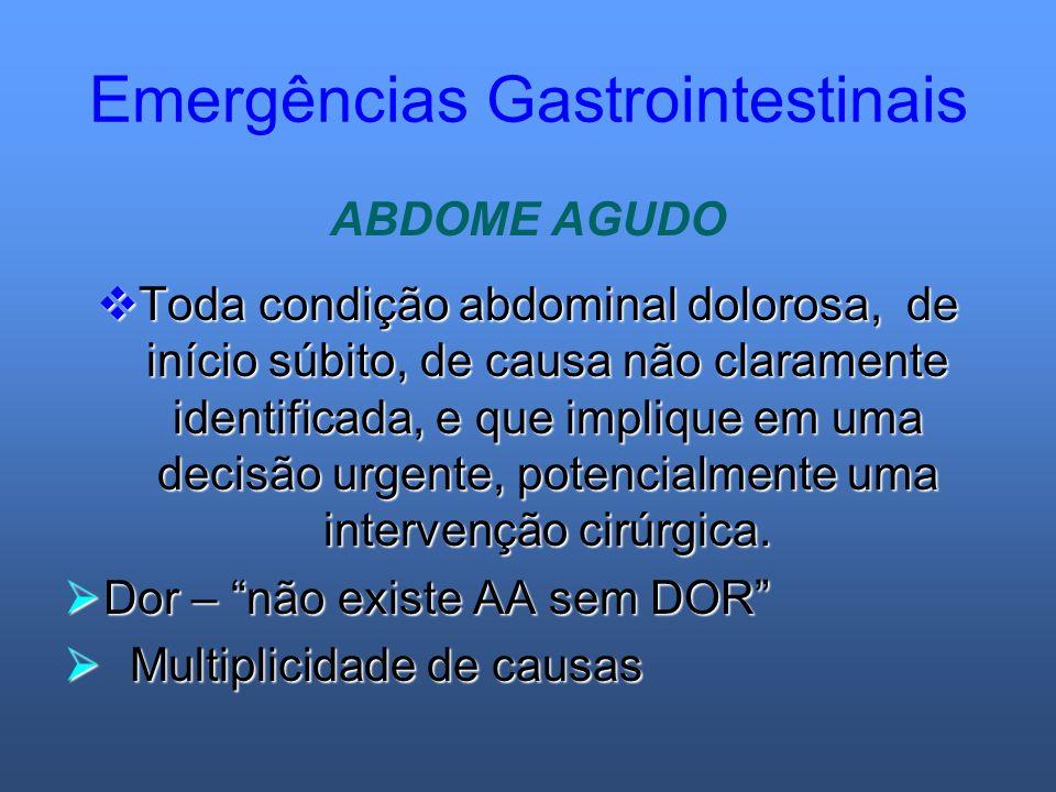 Emergências Gastrointestinais ABDOME AGUDO Toda condição abdominal dolorosa, de início súbito, de causa não claramente identificada, e que implique em