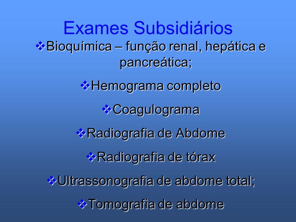 Exames Subsidiários Bioquímica – função renal, hepática e pancreática; Bioquímica – função renal, hepática e pancreática; Hemograma completo Hemograma