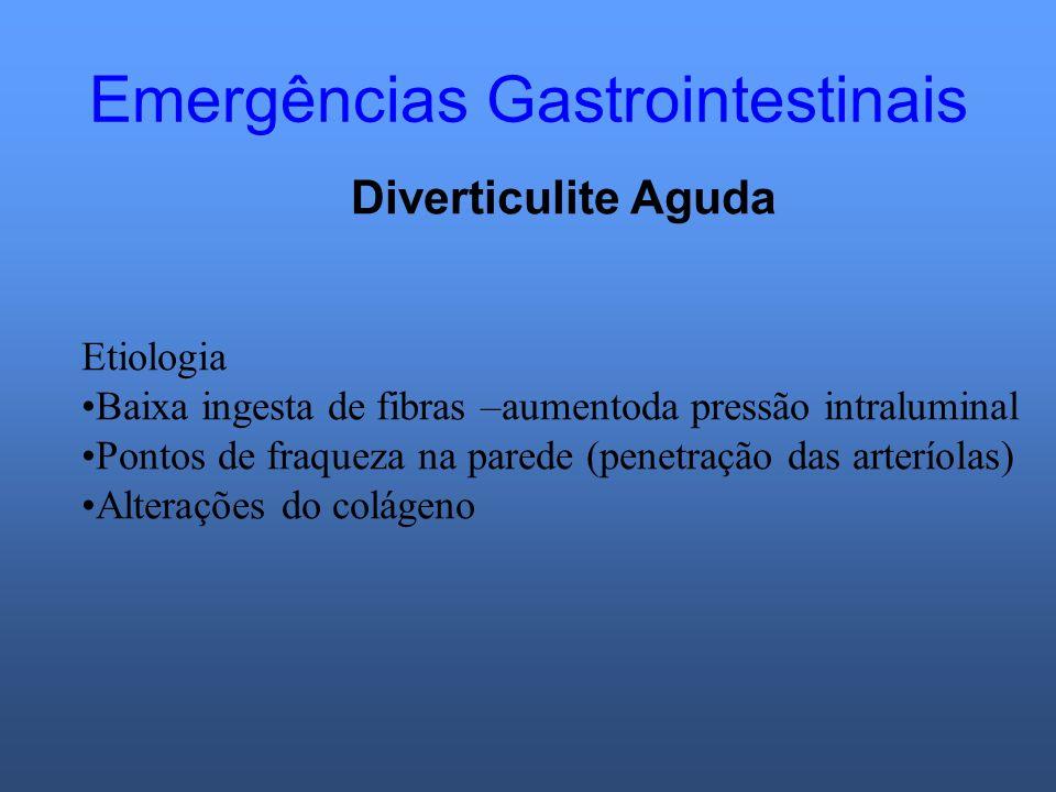 Emergências Gastrointestinais Diverticulite Aguda Etiologia Baixa ingesta de fibras –aumentoda pressão intraluminal Pontos de fraqueza na parede (pene