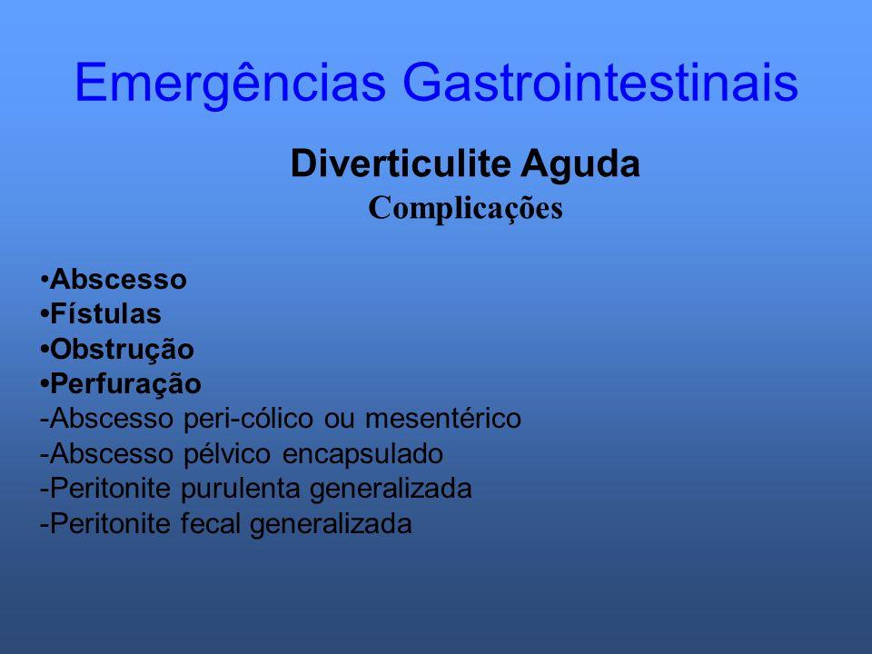 Emergências Gastrointestinais Diverticulite Aguda Complicações Abscesso Fístulas Obstrução Perfuração -Abscesso peri-cólico ou mesentérico -Abscesso p