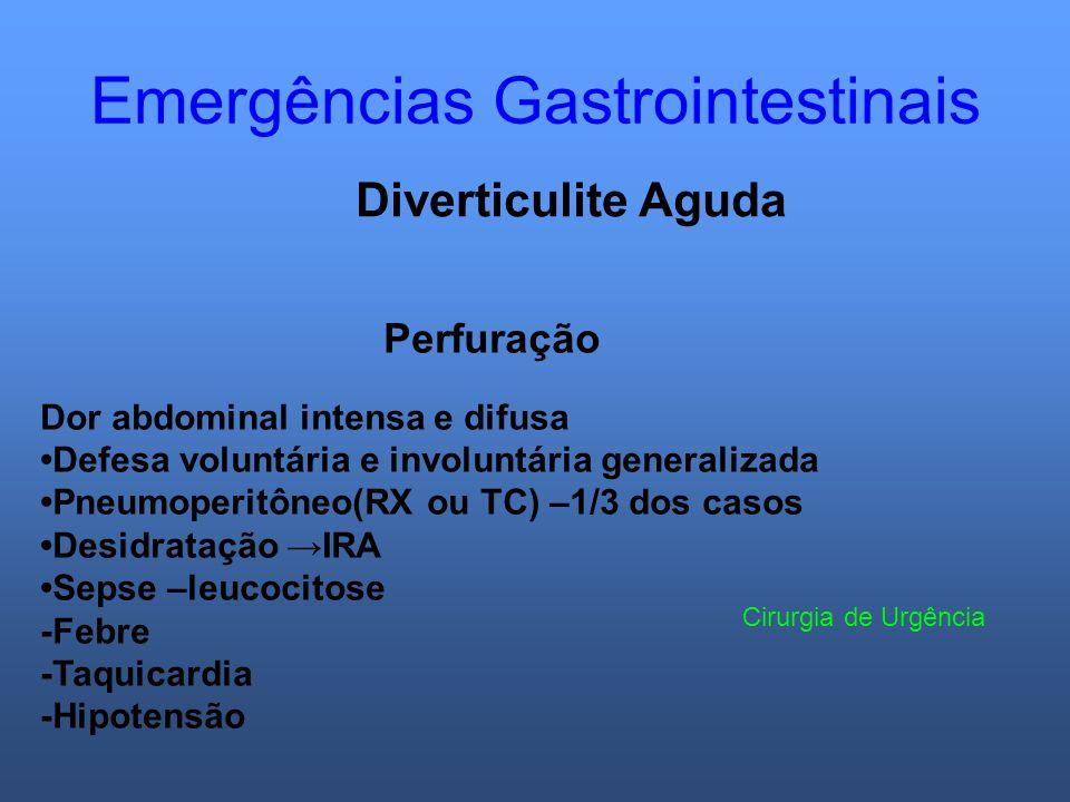 Emergências Gastrointestinais Diverticulite Aguda Perfuração Dor abdominal intensa e difusa Defesa voluntária e involuntária generalizada Pneumoperitô