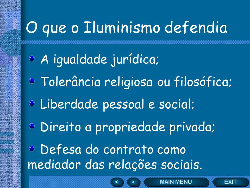 O que o Iluminismo defendia A igualdade jurídica; Tolerância religiosa ou filosófica; Liberdade pessoal e social; Direito a propriedade privada; Defes