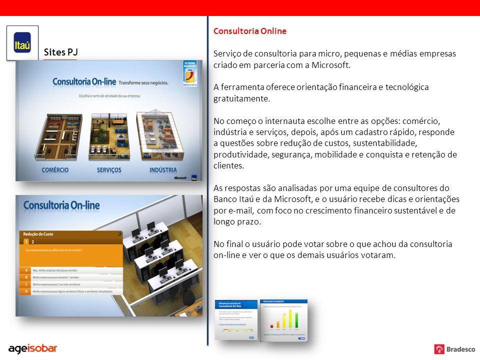 Sites PJ Consultoria Online Serviço de consultoria para micro, pequenas e médias empresas criado em parceria com a Microsoft. A ferramenta oferece ori
