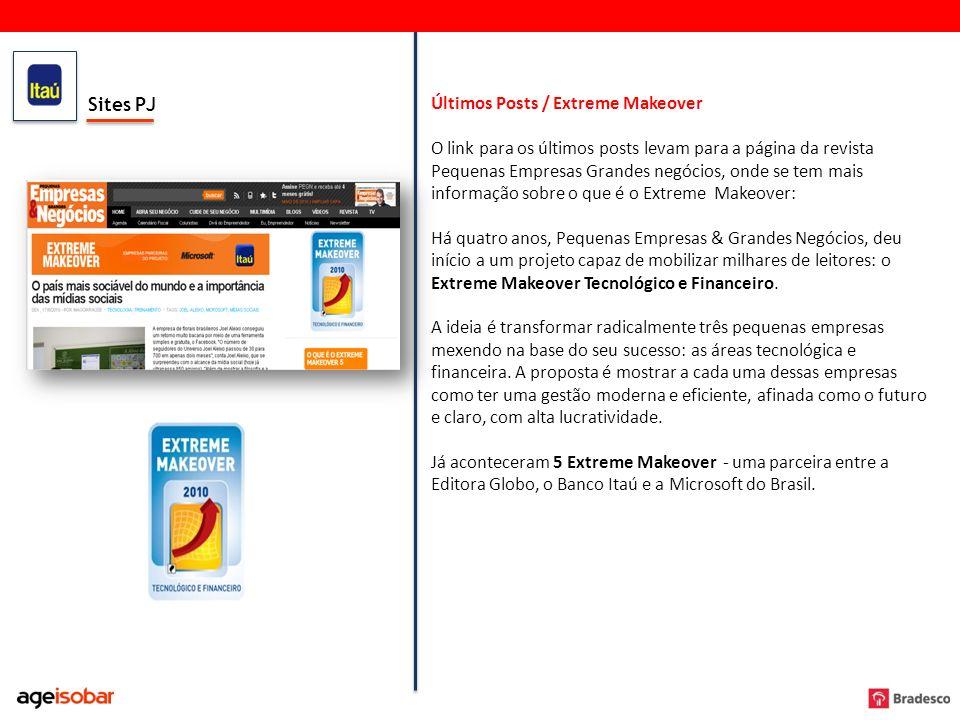 Sites PJ Últimos Posts / Extreme Makeover O link para os últimos posts levam para a página da revista Pequenas Empresas Grandes negócios, onde se tem