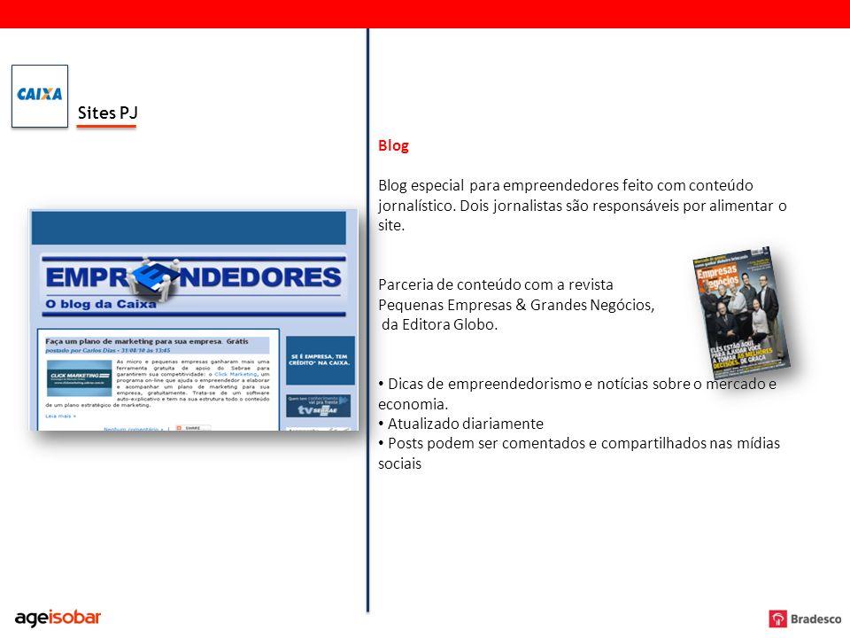 Sites PJ Blog Blog especial para empreendedores feito com conteúdo jornalístico. Dois jornalistas são responsáveis por alimentar o site. Parceria de c