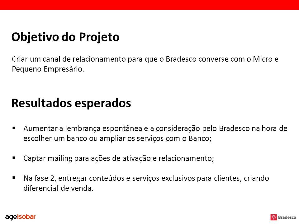 Objetivo do Projeto Criar um canal de relacionamento para que o Bradesco converse com o Micro e Pequeno Empresário. Resultados esperados Aumentar a le