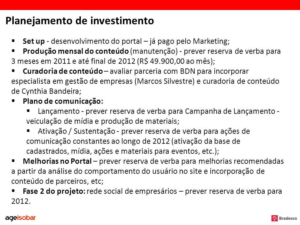 Planejamento de investimento Set up - desenvolvimento do portal – já pago pelo Marketing; Produção mensal do conteúdo (manutenção) - prever reserva de