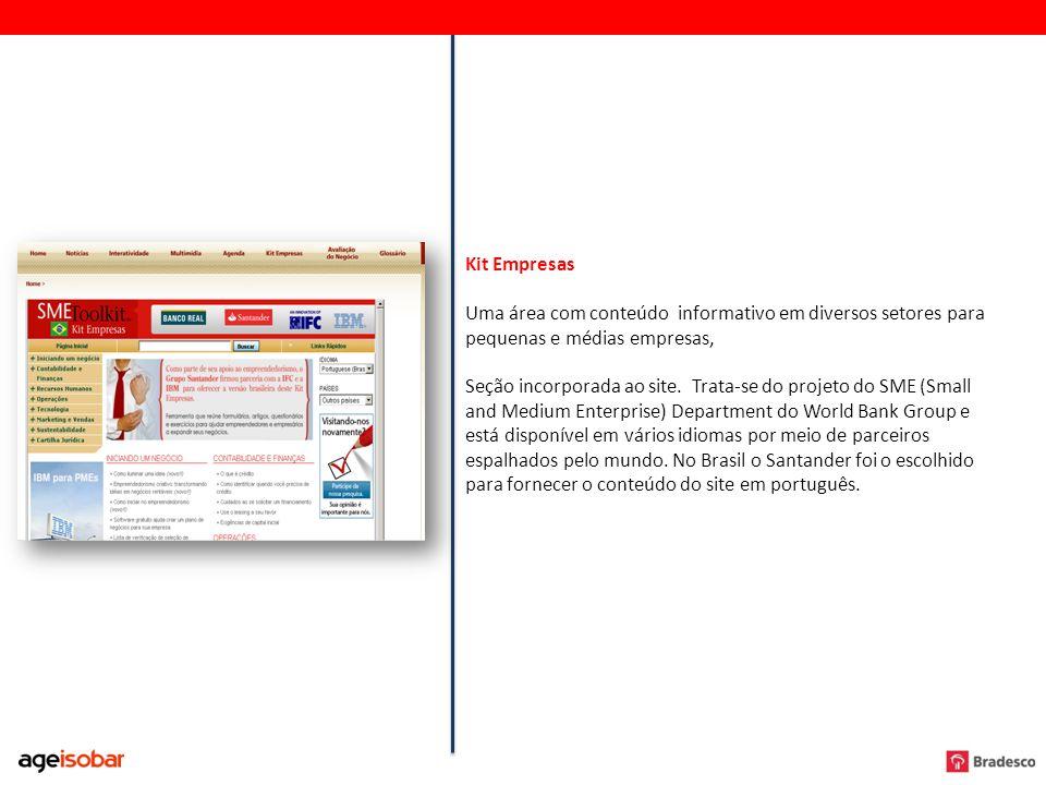 Kit Empresas Uma área com conteúdo informativo em diversos setores para pequenas e médias empresas, Seção incorporada ao site. Trata-se do projeto do