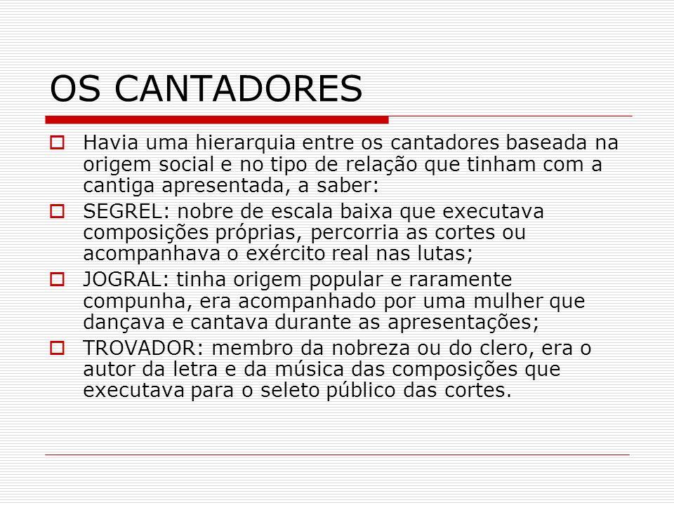 OS CANTADORES Havia uma hierarquia entre os cantadores baseada na origem social e no tipo de relação que tinham com a cantiga apresentada, a saber: SE