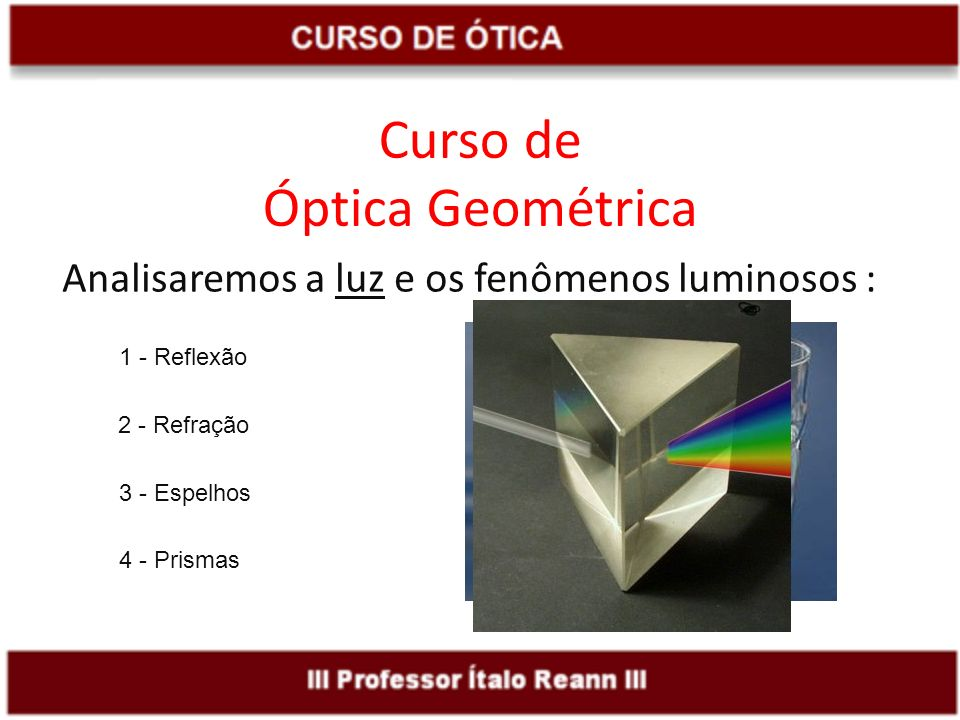 Curso de Óptica Geométrica Analisaremos a luz e os fenômenos luminosos : 1 - Reflexão 2 - Refração 3 - Espelhos 4 - Prismas