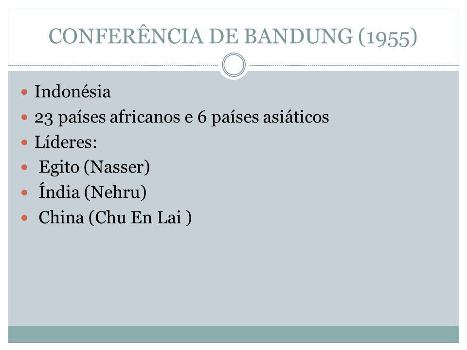 CONFERÊNCIA DE BANDUNG (1955) Indonésia 23 países africanos e 6 países asiáticos Líderes: Egito (Nasser) Índia (Nehru) China (Chu En Lai )