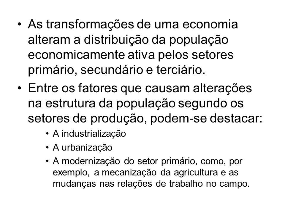 As transformações de uma economia alteram a distribuição da população economicamente ativa pelos setores primário, secundário e terciário. Entre os fa
