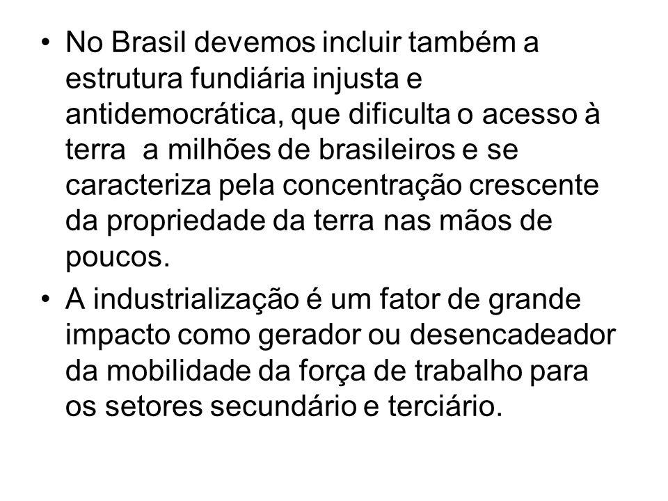 No Brasil devemos incluir também a estrutura fundiária injusta e antidemocrática, que dificulta o acesso à terra a milhões de brasileiros e se caracte