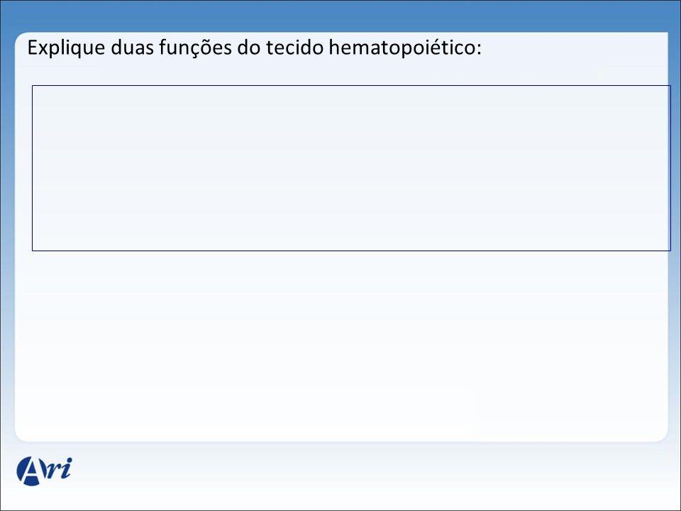 Explique duas funções do tecido hematopoiético: