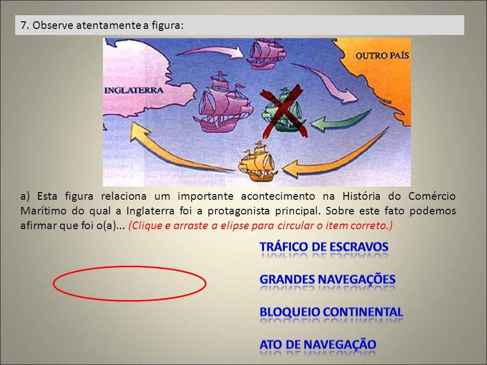 7. Observe atentamente a figura: a) Esta figura relaciona um importante acontecimento na História do Comércio Marítimo do qual a Inglaterra foi a prot