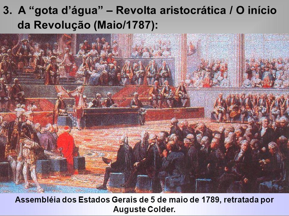 3. A gota dágua – Revolta aristocrática / O início da Revolução (Maio/1787): Ameaçada de pegar tributos a aristocracia exige a convocação da Assembléi