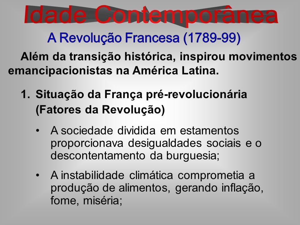 Além da transição histórica, inspirou movimentos emancipacionistas na América Latina. 1.Situação da França pré-revolucionária (Fatores da Revolução) A