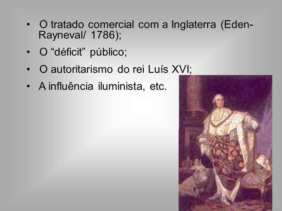 O tratado comercial com a Inglaterra (Eden- Rayneval/ 1786); O déficit público; O autoritarismo do rei Luís XVI; A influência iluminista, etc.