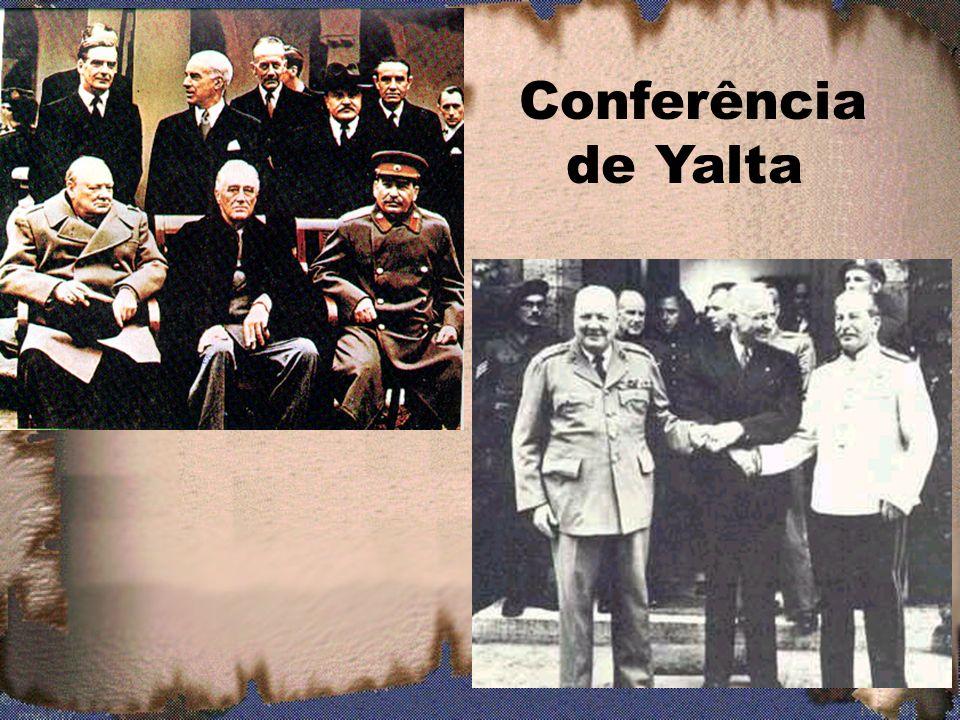 3.4 O fim da Guerra (1945) -Conferência de Yalta, Criméia (fevereiro) - Rendições da Itália (abril) e da Alemanha (maio) - As bombas sobre o Japão: Hiroshima e Nagasaki - Os campos de concentração / Holocausto; - O Julgamento dos carrascos / Tribunal de Nuremberg.