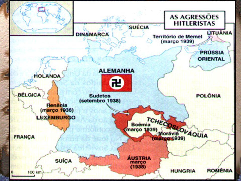 1.1 O expansionismo alemão (teoria do espaço vital) Renânia (região do rio reno, 1936) Anschluss (união) – Áustria (março, 1938); Conferência de Munique (setembro, 1938) – Sudetos / Tchecoslováquia.