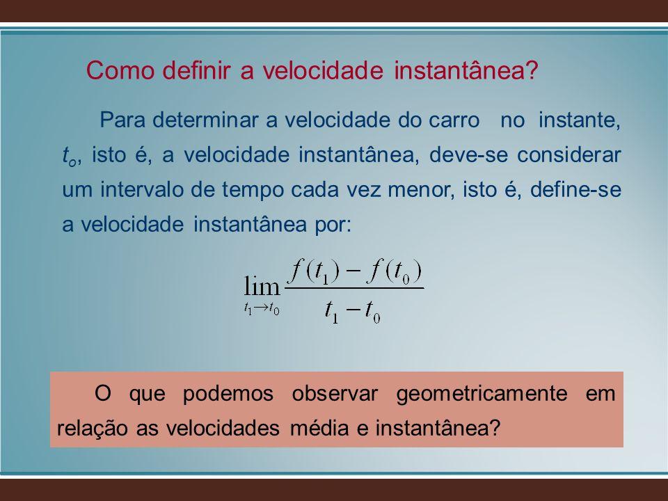 Para determinar a velocidade do carro no instante, t o, isto é, a velocidade instantânea, deve-se considerar um intervalo de tempo cada vez menor, ist