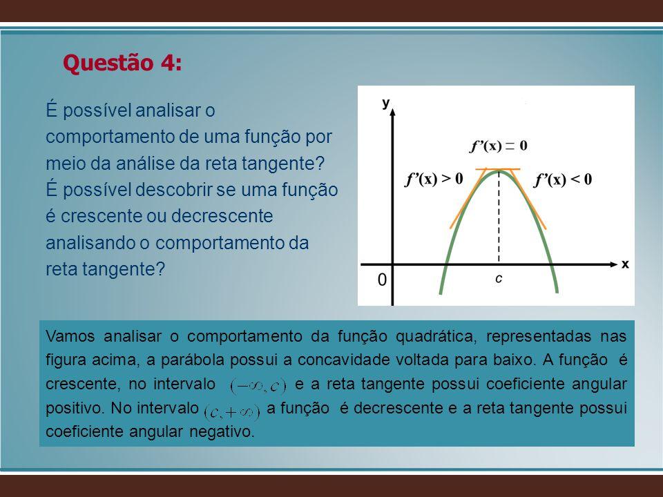 É possível analisar o comportamento de uma função por meio da análise da reta tangente? É possível descobrir se uma função é crescente ou decrescente