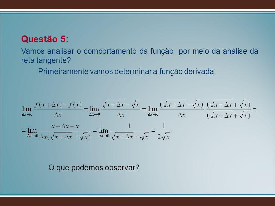 Questão 5 : Vamos analisar o comportamento da função por meio da análise da reta tangente? Primeiramente vamos determinar a função derivada: O que pod