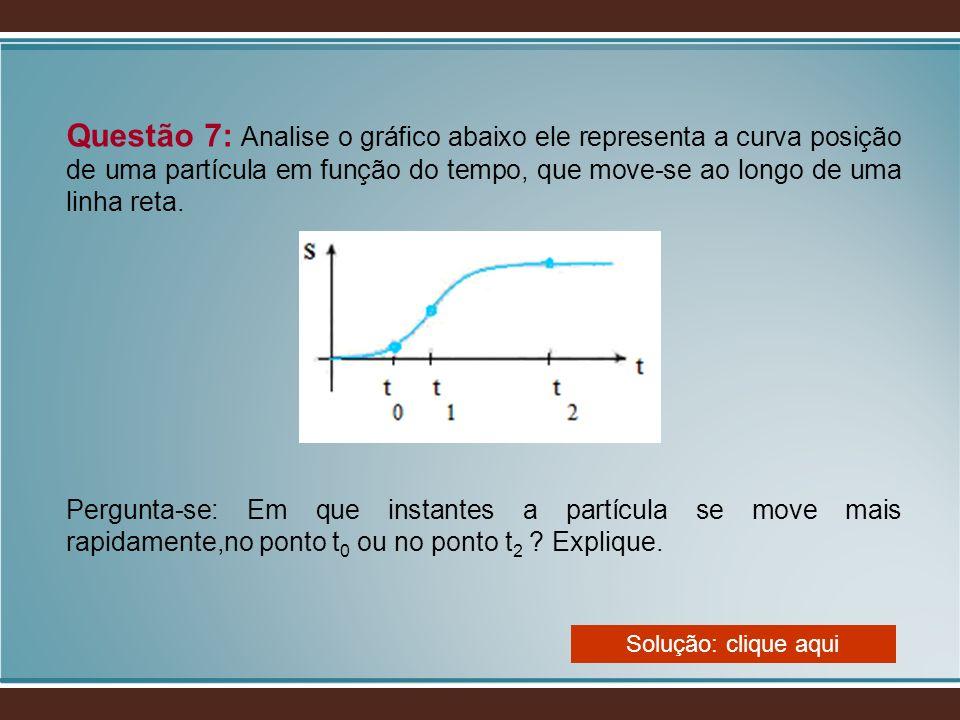 Questão 7: Analise o gráfico abaixo ele representa a curva posição de uma partícula em função do tempo, que move-se ao longo de uma linha reta. Pergun