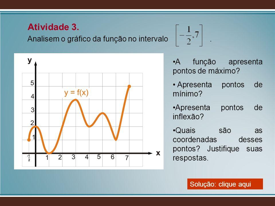 Atividade 3. Analisem o gráfico da função no intervalo. Solução: clique aqui A função apresenta pontos de máximo? Apresenta pontos de mínimo? Apresent