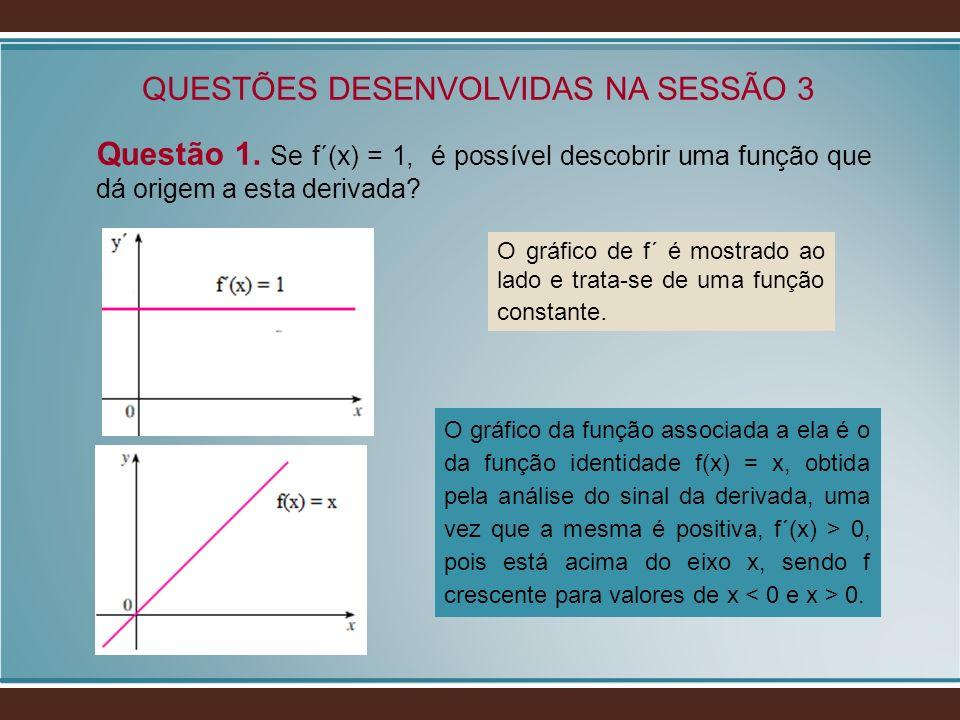 Questão 1. Se f´(x) = 1, é possível descobrir uma função que dá origem a esta derivada? QUESTÕES DESENVOLVIDAS NA SESSÃO 3 O gráfico de f´ é mostrado