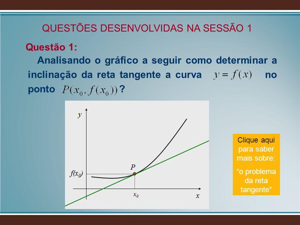 QUESTÕES DESENVOLVIDAS NA SESSÃO 1 Questão 1: Analisando o gráfico a seguir como determinar a inclinação da reta tangente a curva no ponto ? Clique aq