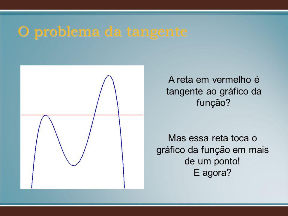 O problema da tangente A reta em vermelho é tangente ao gráfico da função? Mas essa reta toca o gráfico da função em mais de um ponto! E agora?