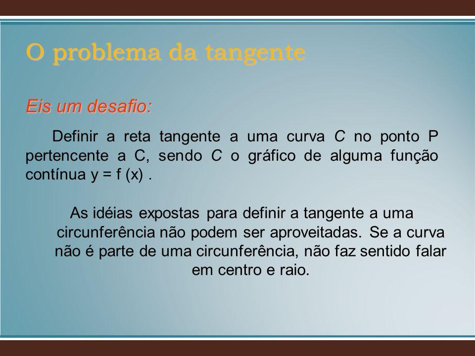 As idéias expostas para definir a tangente a uma circunferência não podem ser aproveitadas. Se a curva não é parte de uma circunferência, não faz sent