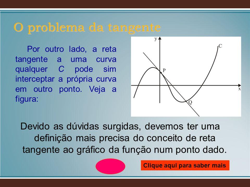 Devido as dúvidas surgidas, devemos ter uma definição mais precisa do conceito de reta tangente ao gráfico da função num ponto dado. O problema da tan