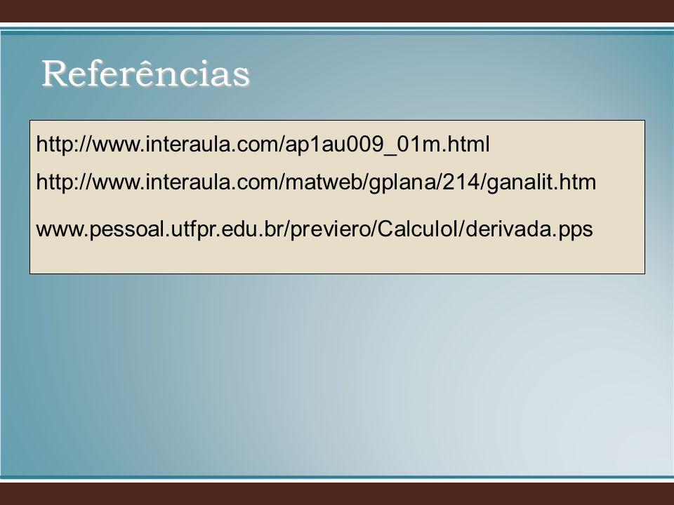 http://www.interaula.com/ap1au009_01m.html http://www.interaula.com/matweb/gplana/214/ganalit.htm www.pessoal.utfpr.edu.br/previero/CalculoI/derivada.